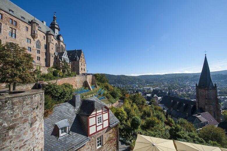 Blick von Marburger Schloss über die Stadt