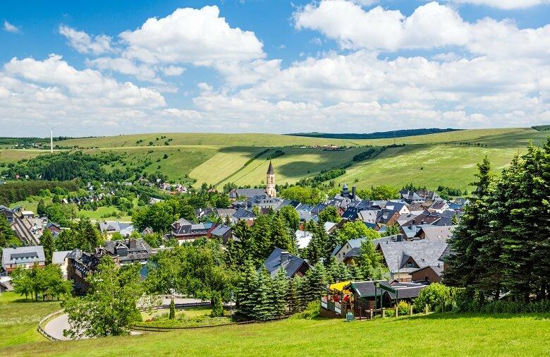 Der Kurort Oberwiesenthal im Erzgebirge
