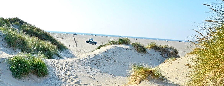 Autos auf dem Strand von Rømø in Dänemark