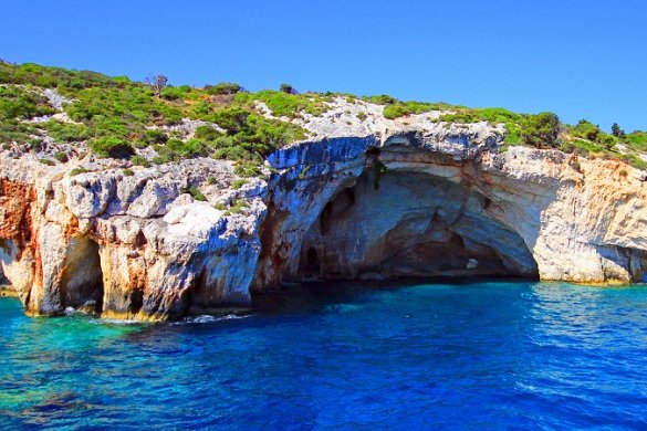 Amazing Blue caves at the cliff of Zakynthos island, Greece