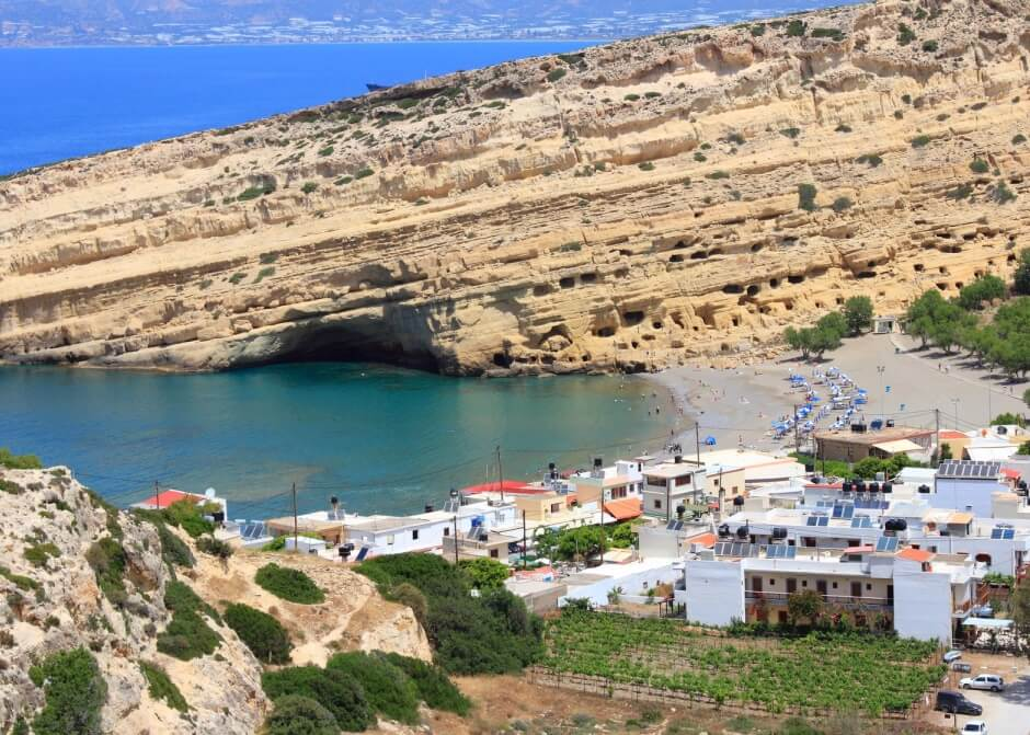Matala, Crete - aerial view of town and beach.