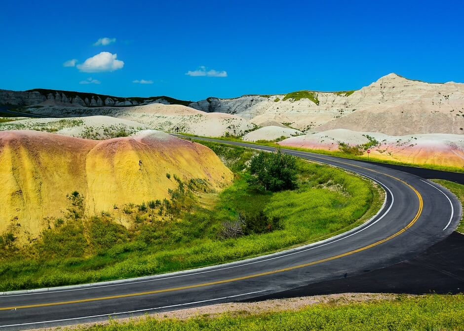 road through the hills in Badlands National Park