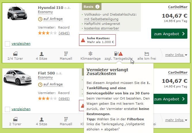 Zusatzinfos zum Mietwagen-Angebot