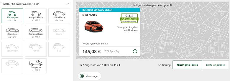 Kleinwagen auf billiger-mietwagen.de