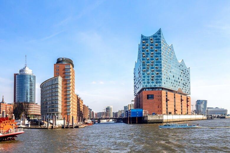 Die Hafencity in Hamburg mit der Elbphilharmonie