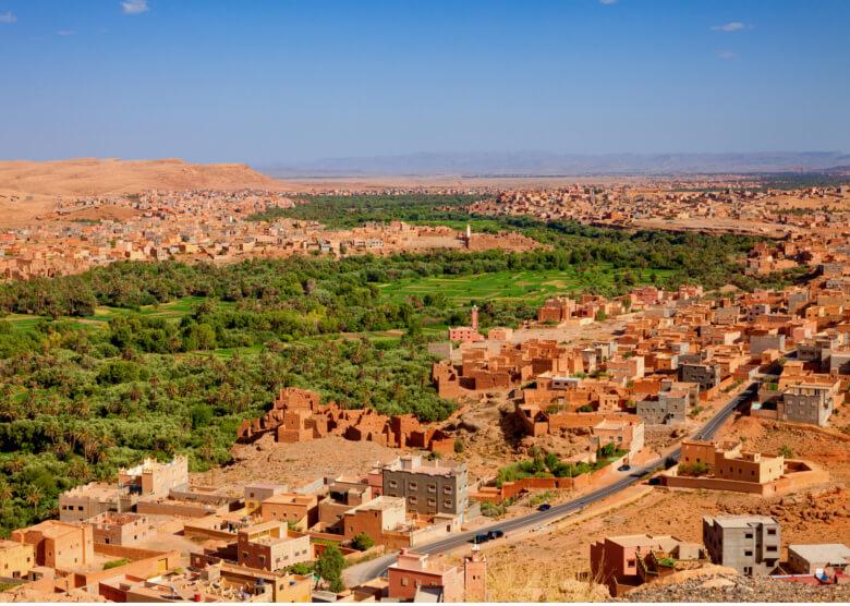 Luftaufnahme der Stadt Tinghir