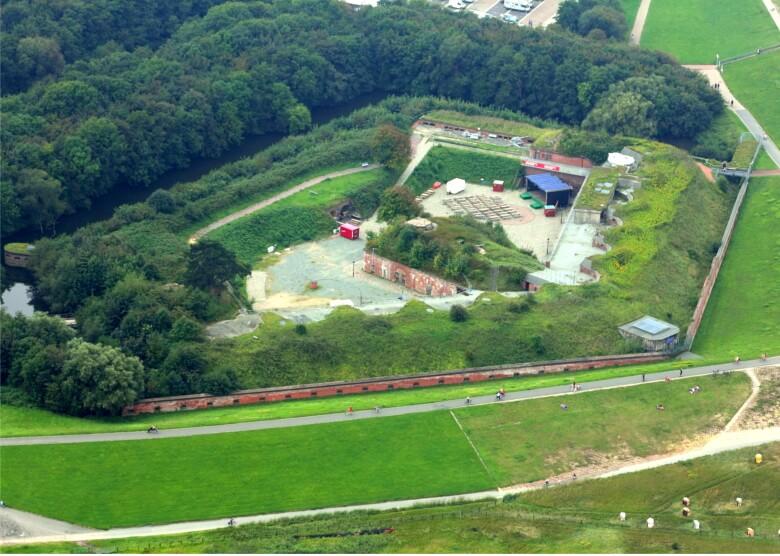 Luftaufnahme des Fort Kugelbake