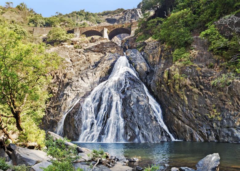 Der Dudhsagar-Wasserfall im Bhagwan-Mahavir-Nationalpark
