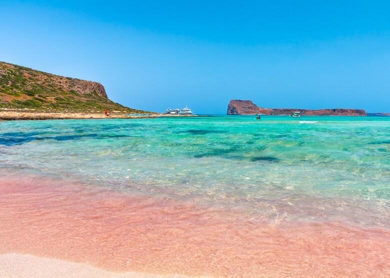 Pinkfarbener Strand Balos Beach auf Kreta, Griechenland
