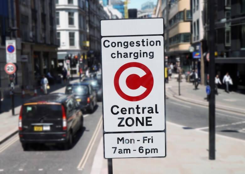 Hinweis auf Citymaut in London