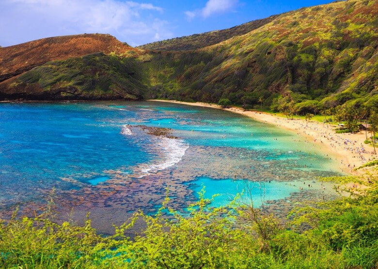 Blick auf die Hanauma Bay in Oahu, Hawaii