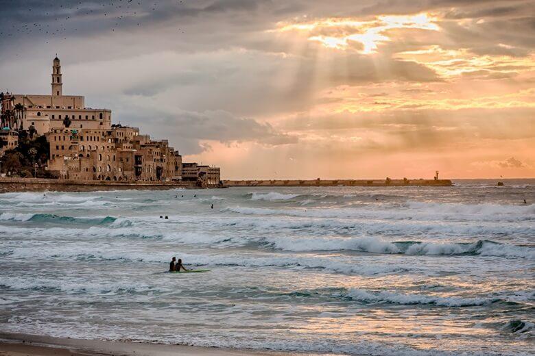 Strand bei der Altstadt Jaffa vor Tel Aviv, Israel