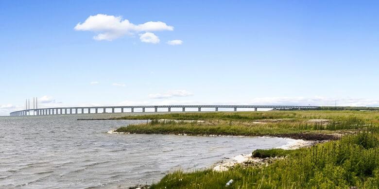 Blick auf Öresundbrücke von Schweden aus