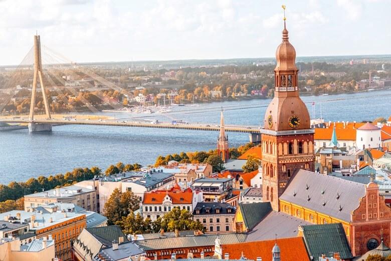 Blick über die Hauptstadt Riga in Lettland