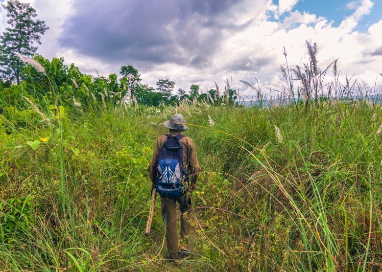 Wanderer im Chitwan National Park in Nepal mit Rucksack