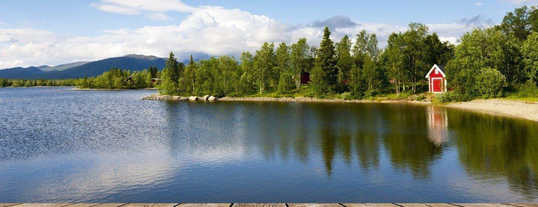 Landschaft in Schweden mit Wäldern und See