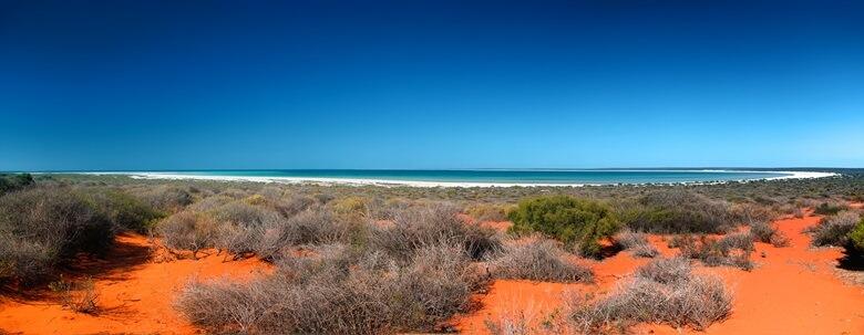 Blick über Shark Bay an der australischen Westküste