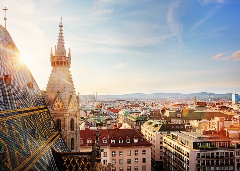 Stephansdom in Wien, Ausblick vom Turm auf die Stadt