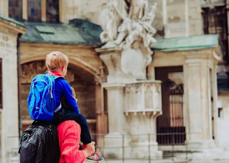 Vater und Sohn in der Stadt Wien, Österreich