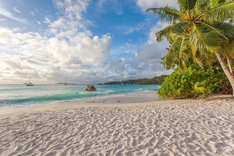 Palmenstrand Anse Lazio auf den Seychellen