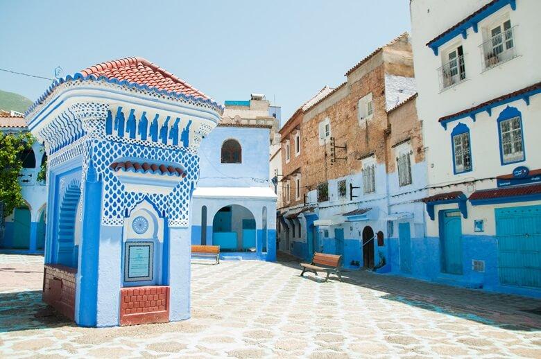 Die Altstadt der blauen Stadt Chefchaouen in Marokko