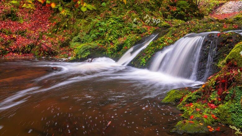 Wasserfall im Herbst bei der Dresdner Heide