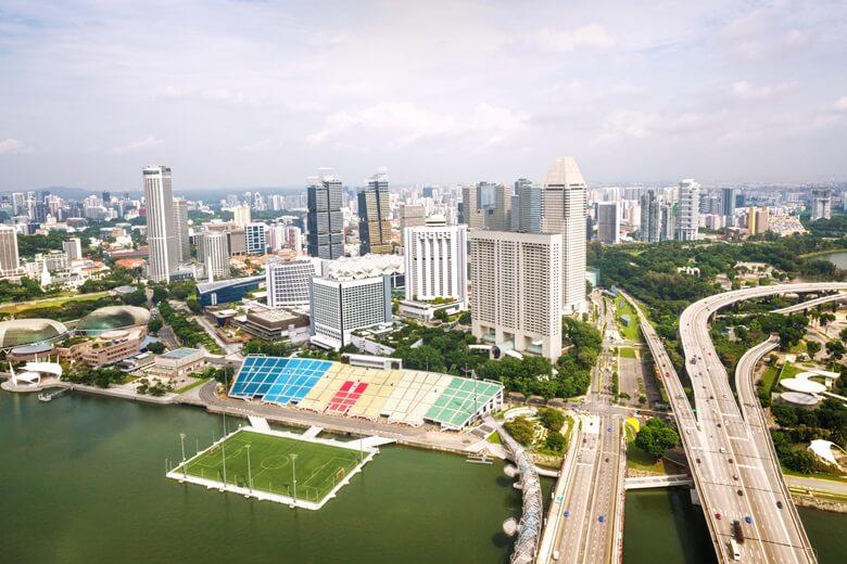 Das spektakuläre Floating Stadium in der Marina Bay in Singapur