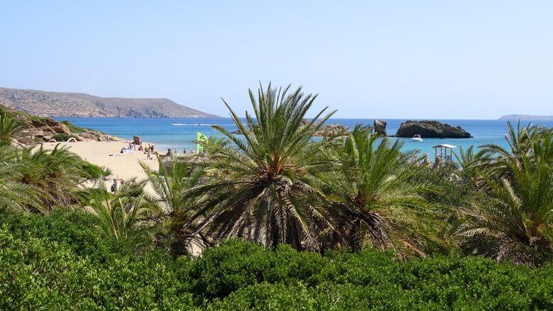Blick auf Strand von Vai auf der griechischen Insel Kreta