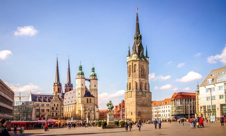 Altstadtkern von Halle an der Saale in Ostdeutschland