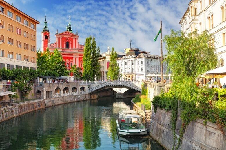 Kanäle in Ljubljana, der Hauptstadt von Slowenien