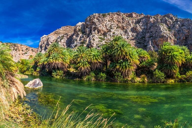 Palmen am Strand von Preveli am Süßwasserfluss auf Kreta
