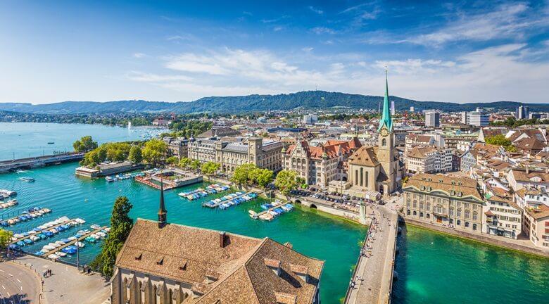 Blick über die Stadt Zürich in der Schweiz
