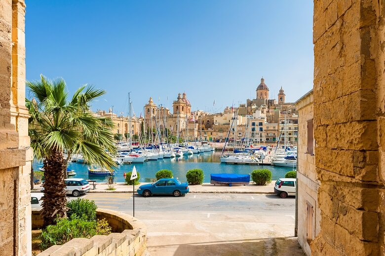 Blick auf den Hafen von Senglea auf Malta