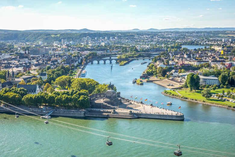 Panoramablick auf das Deutsche Eck in Koblenz